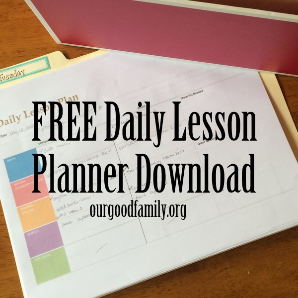 downloadable daily lesson planner our good life