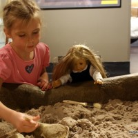 Sophie and Isabelle digging at Buffalo Scienc Center