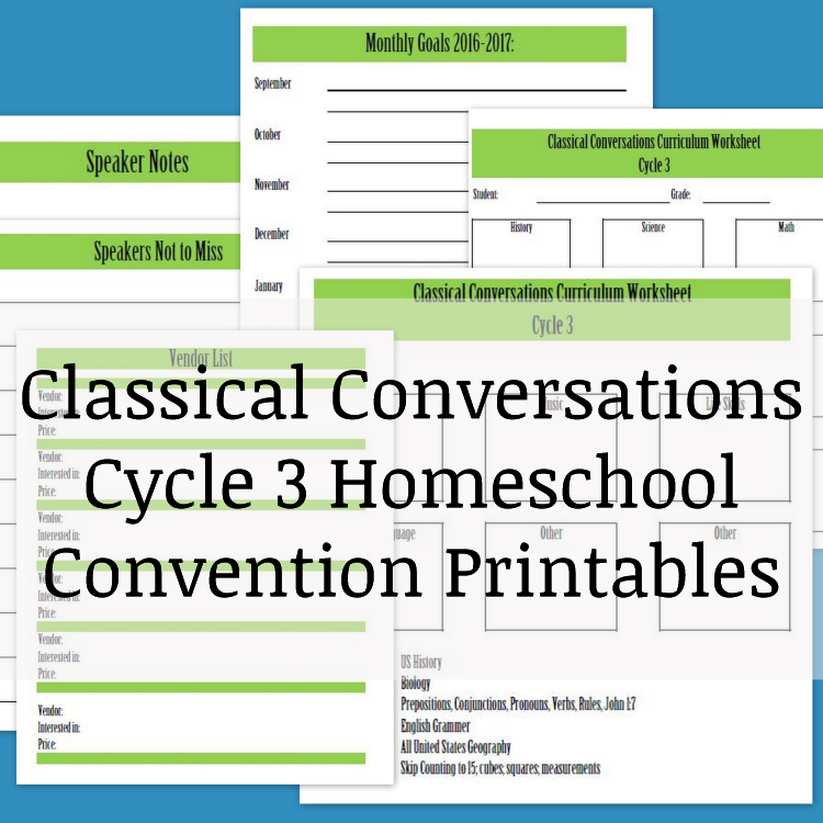 CC Cycle 3 Homeschool Convention Printables