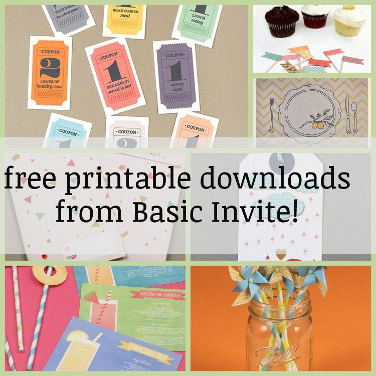 free printable downloads from Basic Invite