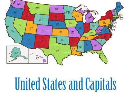 US States and Capitals Word Search Download
