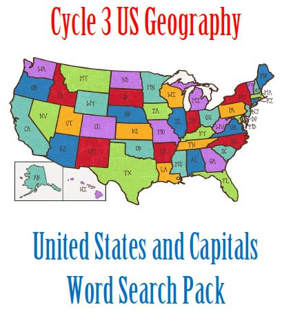 cycle 3 us geography, states and capitals, word search pack